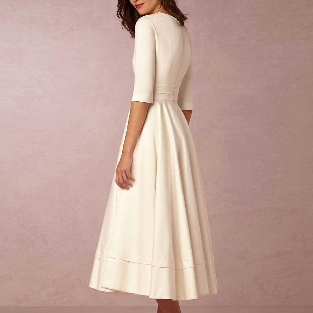 Deep V Neck Middle Sleeve Midi Prom Dress,381 | Tea length