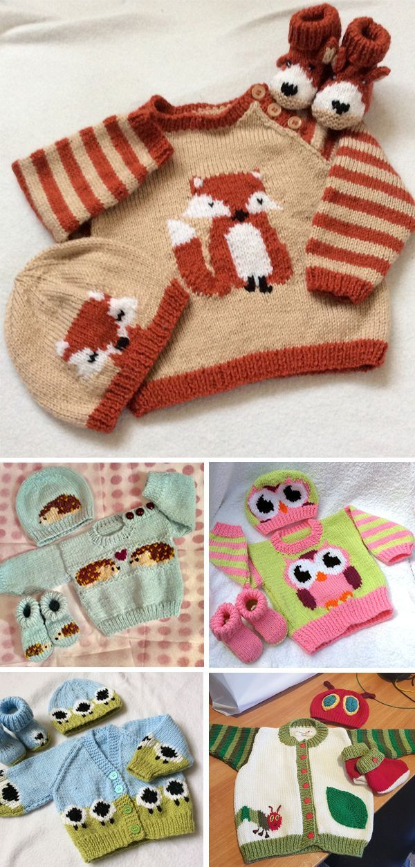 Photo of Knitting Patterns for Baby and Child Sweater Sets with Animal Themes – Each set …