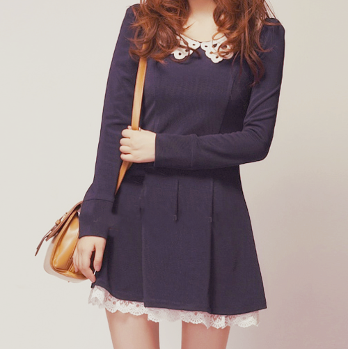 long sleeved collar dress | sammydress