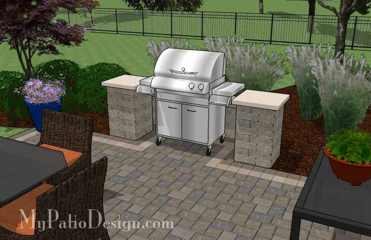 Simple Patio Design With Pergola Fireplace And Grill Station 630 Sq Ft
