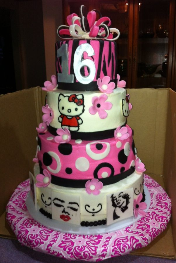 sweet 16 cakes for girls Sweet 16 with Hello Kitty and Marilyn
