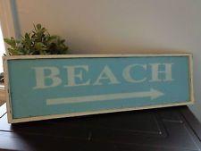 Decorative Distressed Aqua Blue Wooden Sign