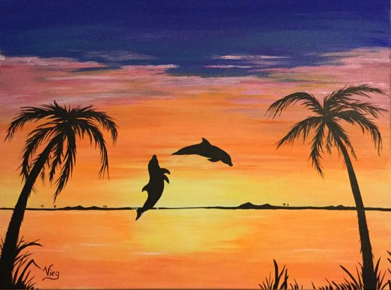 Dolphin Beach Glow In The Dark Ready To Ship Original Painting