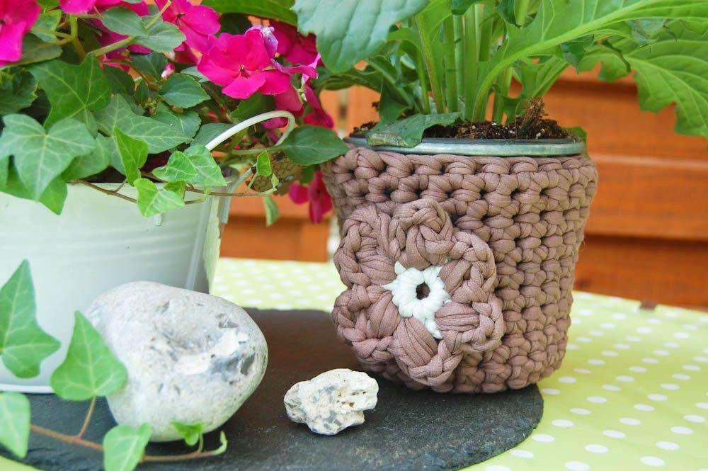 Anleitung Blumentopf Umhäkeln Mit Textilgarn Häkeln Pinterest