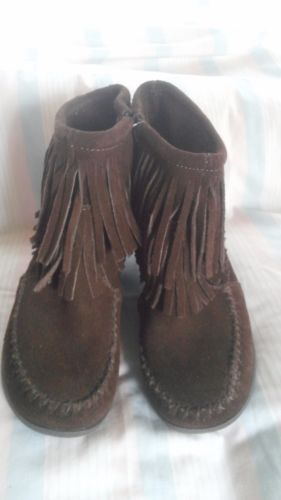 Minnetonka-Womens-Brown-Suede-Leather-Ankle-Boots-Fringe-3-Wedge-Heel-Sz-6-5-M
