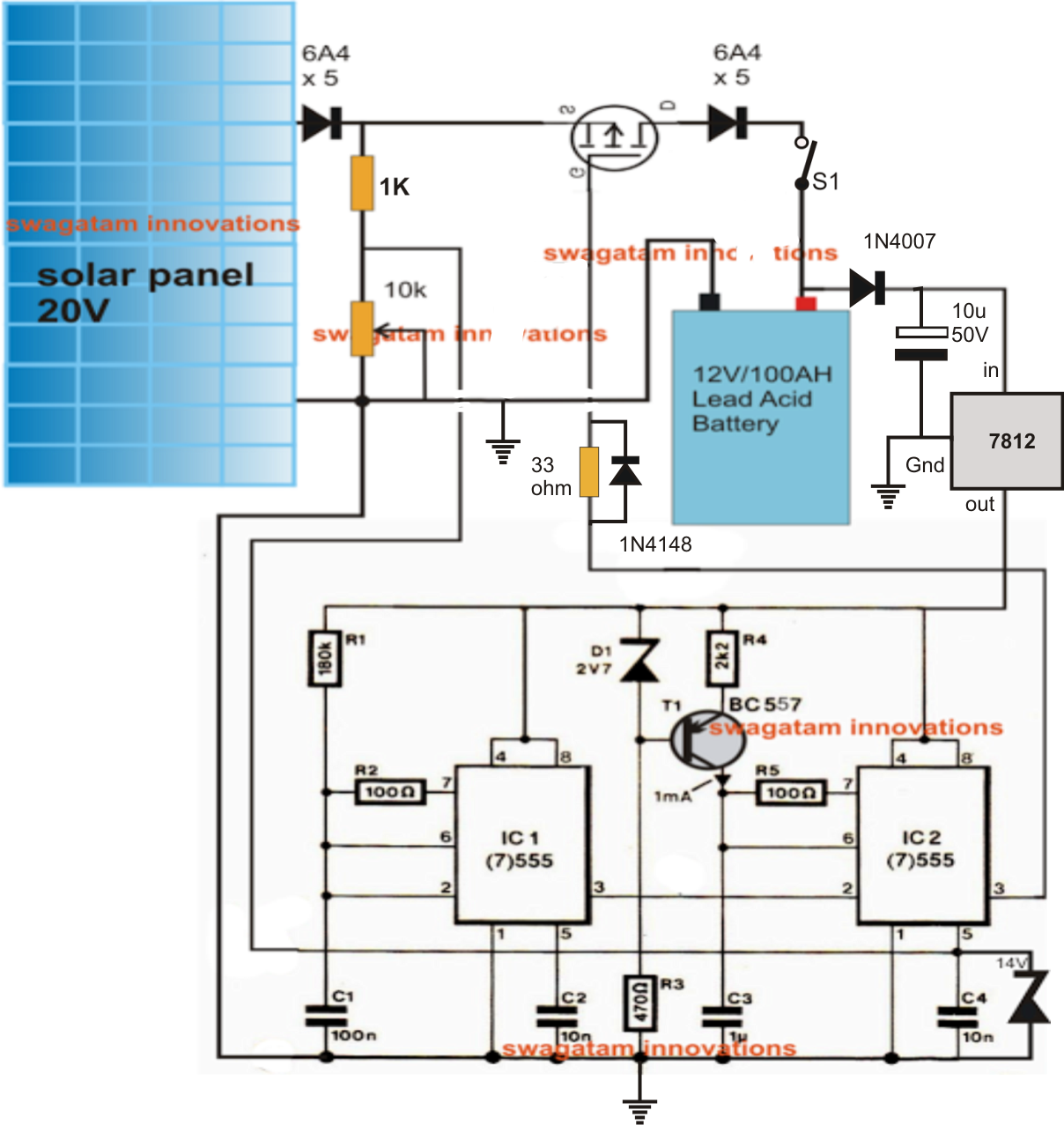 The Circuit Explains A Simple Pwm Based Mppt Battery Charger White Led Driver Diagram Hi Watt Using Ic 555