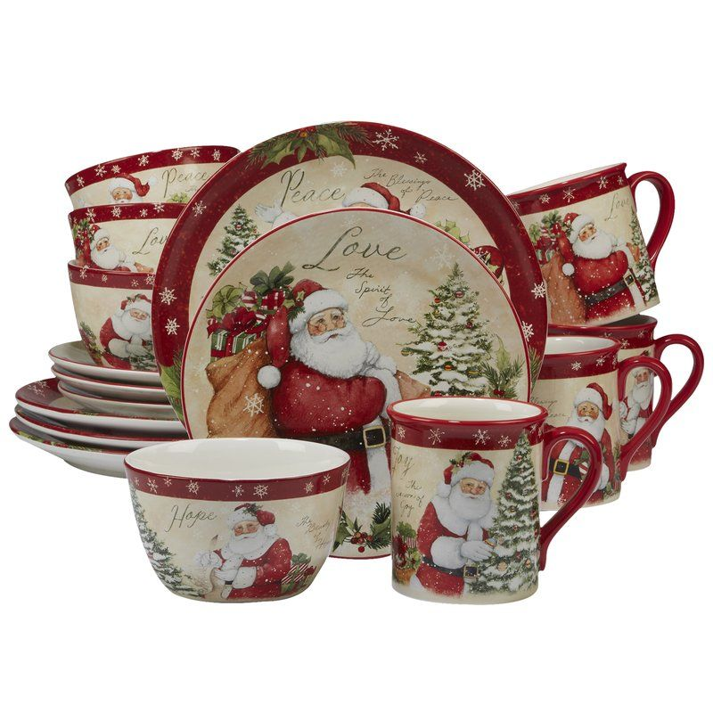 The Holiday Aisle Gianna 16 Piece Dinnerware Set Service For 4 Reviews Wayfair Christmas Dinnerware Sets Christmas Dinnerware Ceramic Dinnerware Set