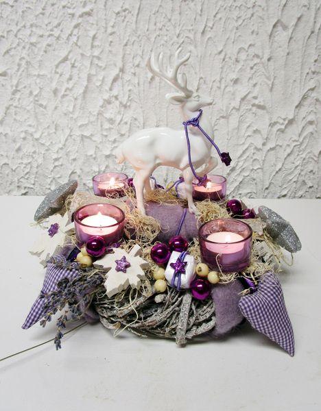 adventskranz ein traum in lila wei von kunstbedarf24. Black Bedroom Furniture Sets. Home Design Ideas
