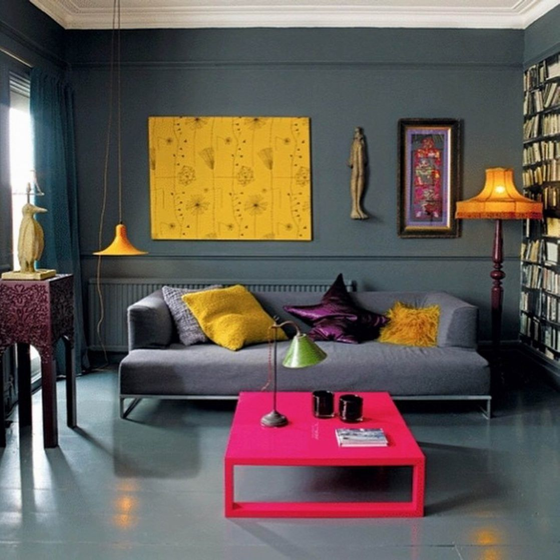 eclectic living room furniture. Living Room, Grey Paint Colors Small Designers Room Decorating With Eclectic Furniture Pink Coffee Table Simple Lounge Sofa Yellow