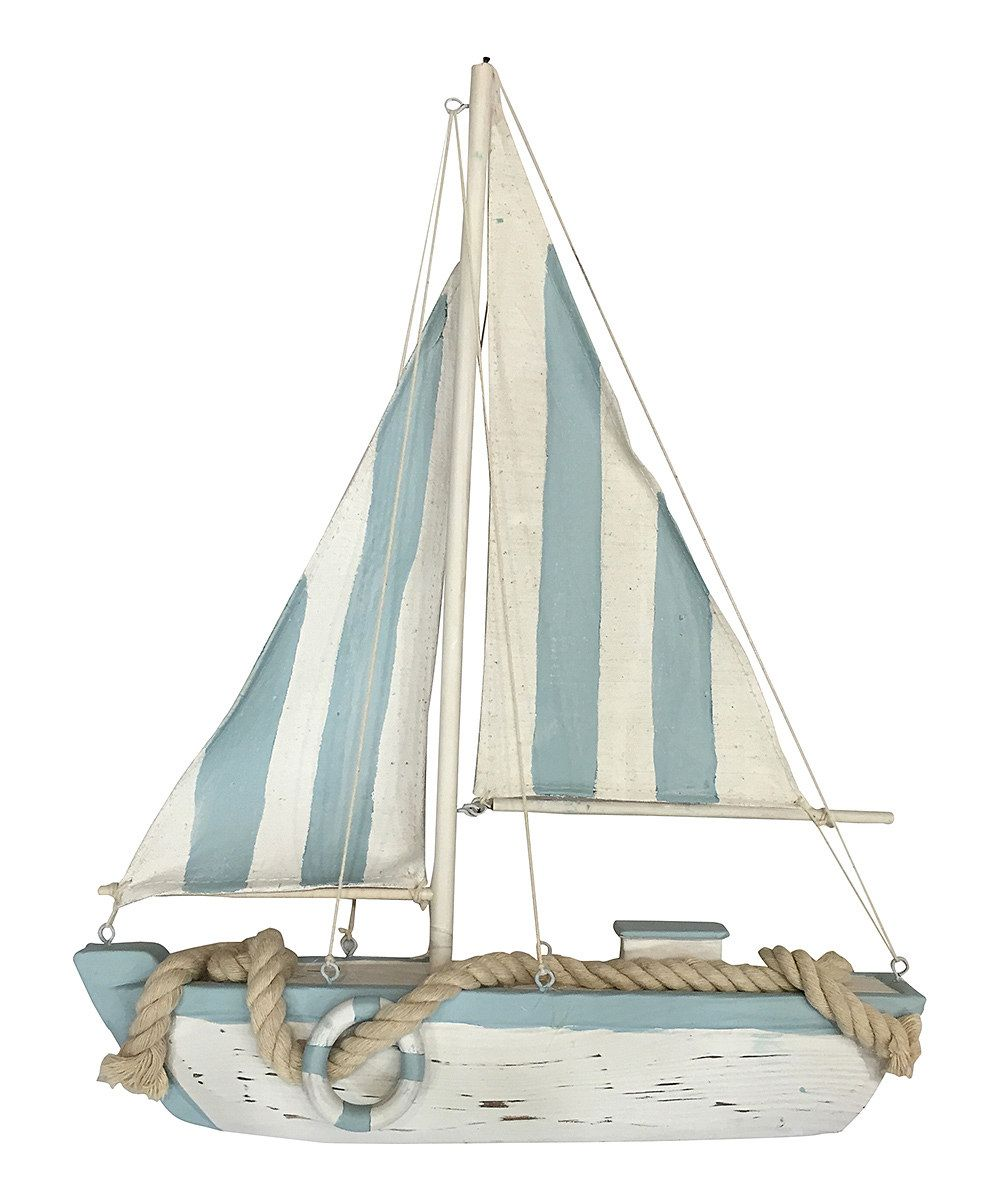 Look at this Blue Stripe Rope Sailboat Decor on #zulily today!