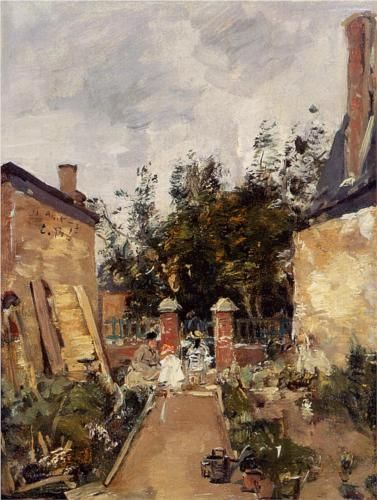 Madame S. with Her Children in Their Garden at Trouville - Eugene Boudin