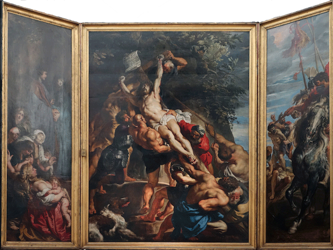 Baroque: Peter Paul Rubens, Elevation of the Cross, from Saint Walburga, 1610, oil on wood. Rubens was one of the most prolific and sought after painters of the Baroque period, generally (although not always) defined in painting and sculpture by the representation of action and emotion in ways meant to inspire the Catholic faithful.