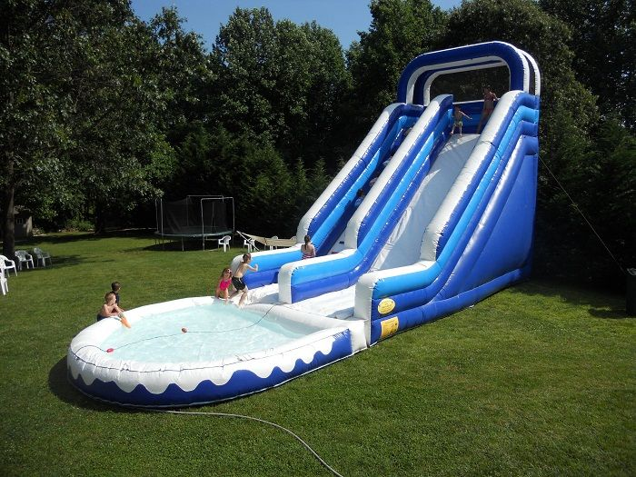 Great Big Fun Inflatable Water Park Slide From Bouncy Rentals Inflatable Water Park Inflatable Water Slide Water Slides Backyard