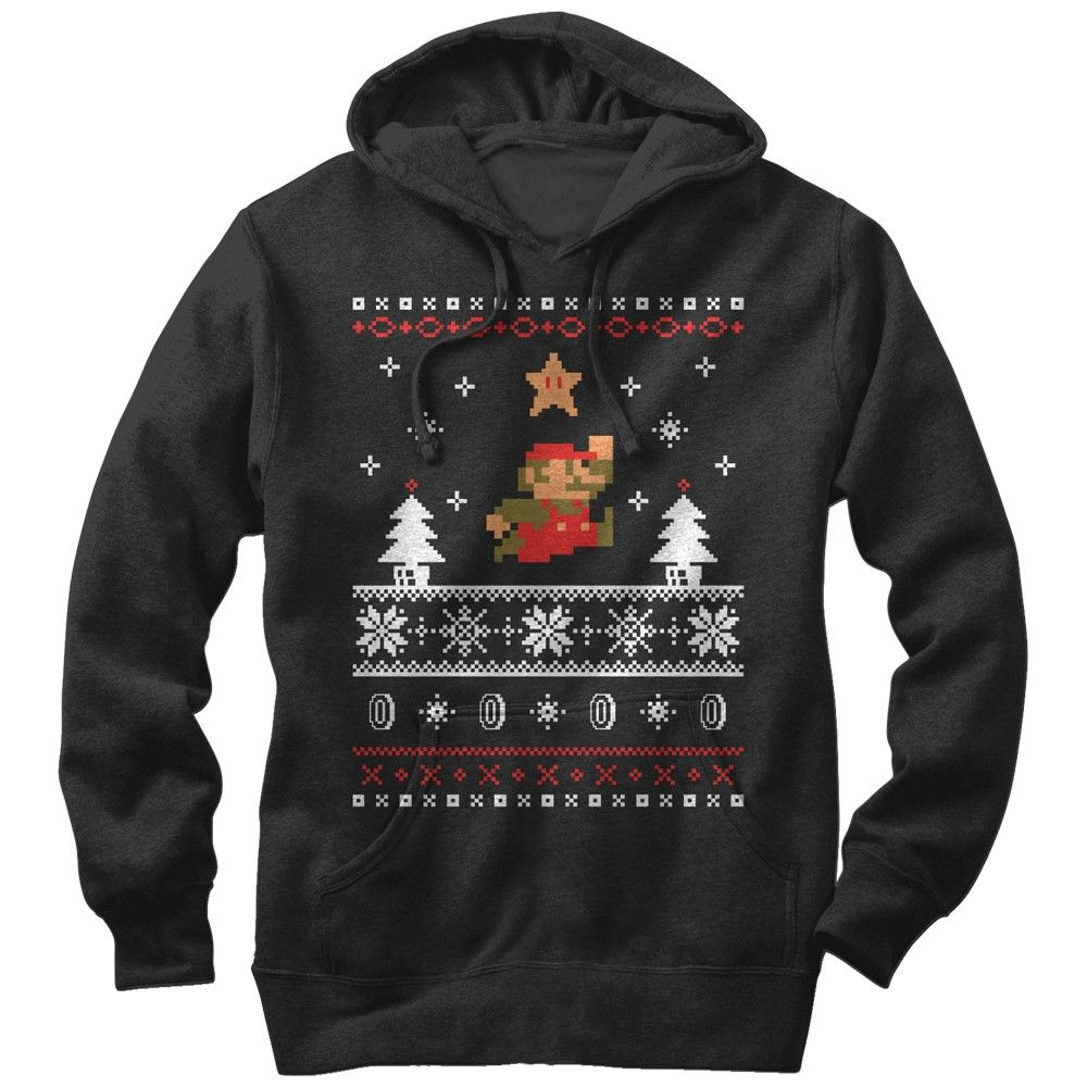Nintendo Men's - Mario Ugly Christmas Sweater Lightweight Hoodie ...