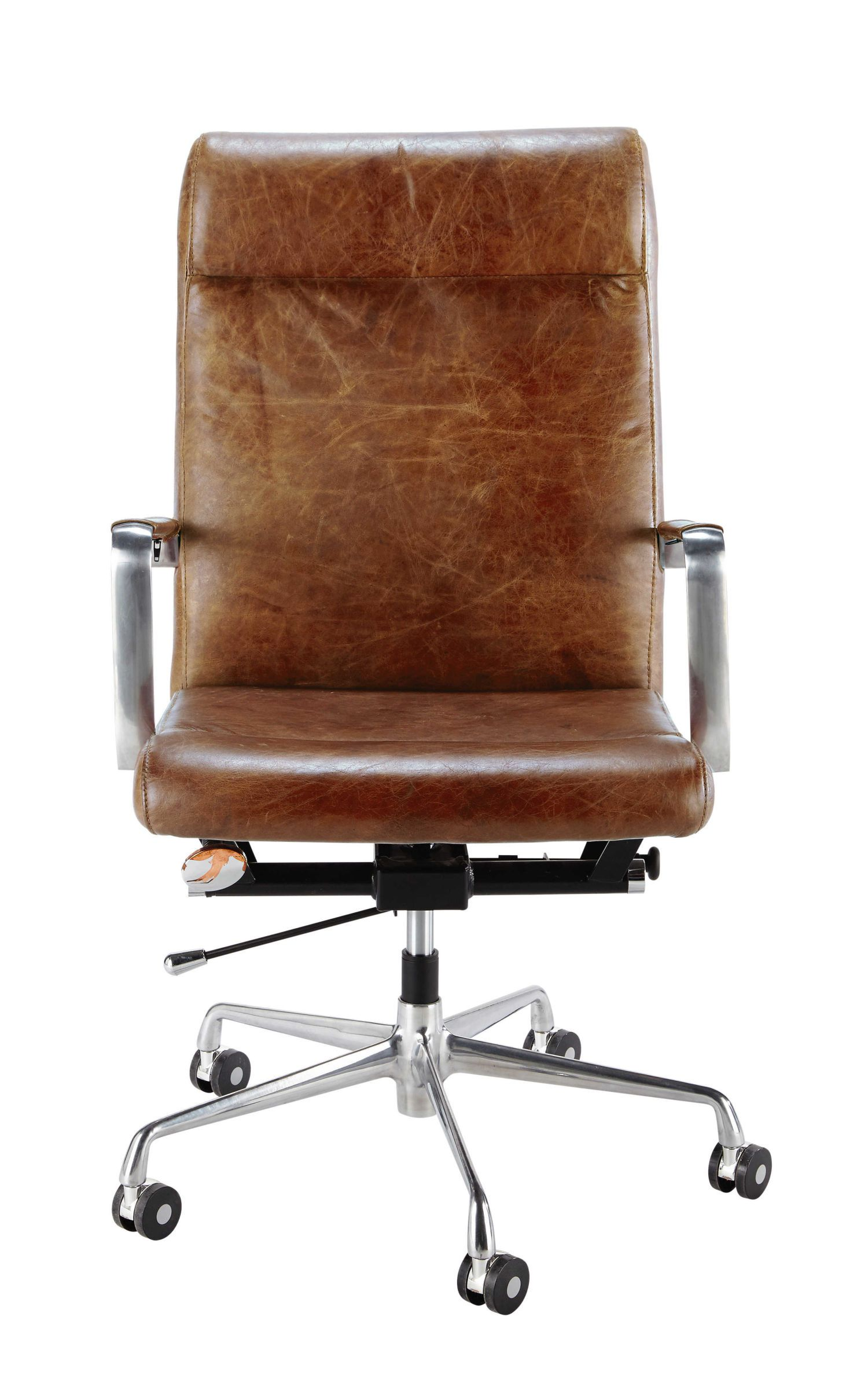 Wondrous Brown Leather And Metal Office Chair On Wheels Office Cjindustries Chair Design For Home Cjindustriesco