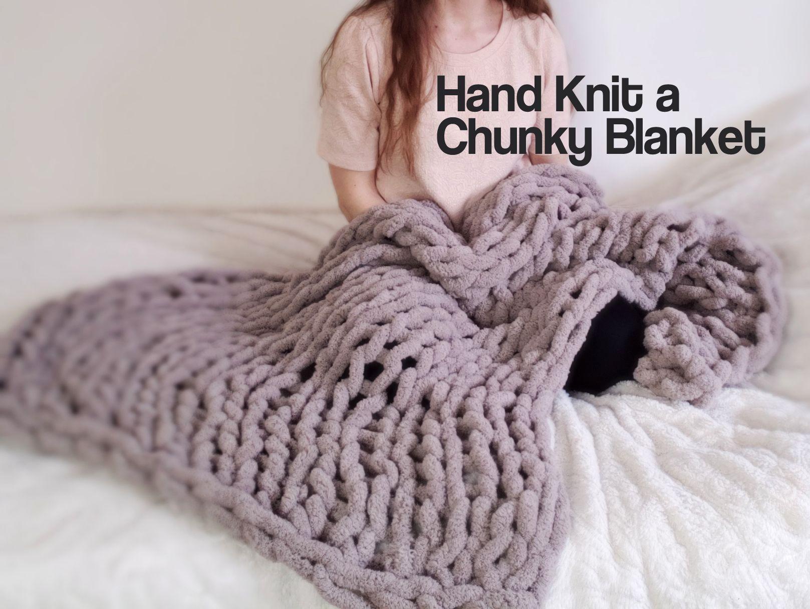 Easy Hand Knit Blanket 1 Hr Only 18 Hand Knit Blanket Arm Knitting Blanket Chunky Crochet Blanket