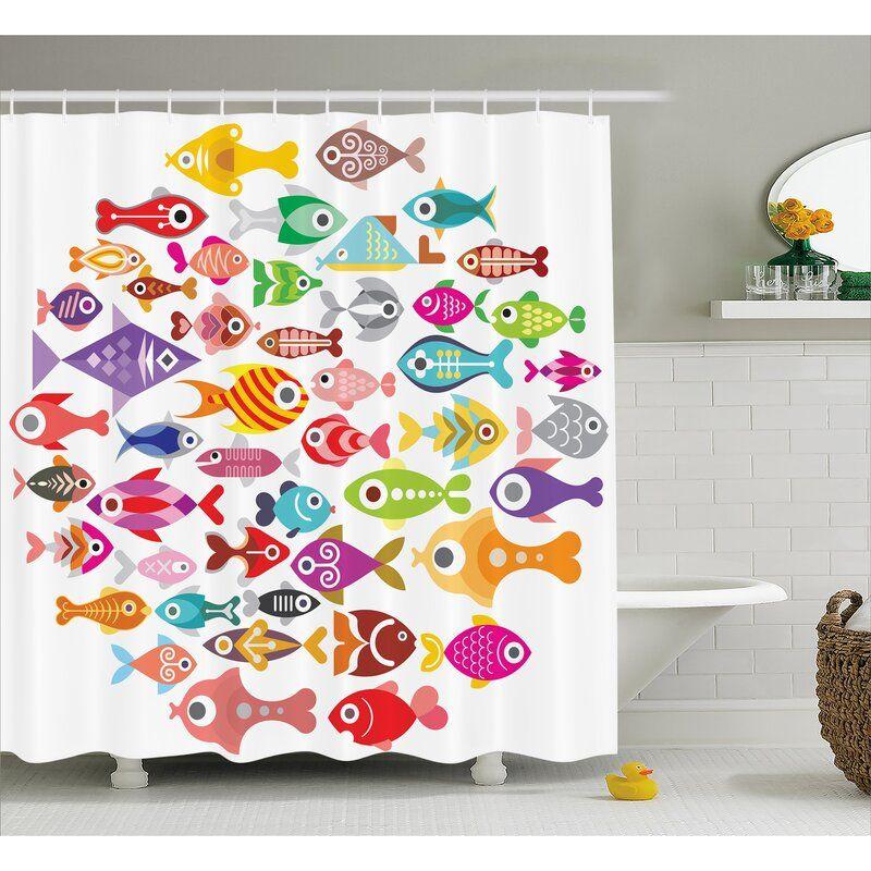 Harriet Bee Wyman Rounded Different Fish Decor Single Shower Curtain Wayfair Kids Shower Curtain Fish Bathroom Fishing Decor