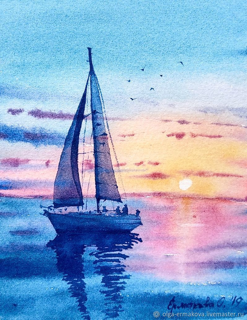 Painting with the sea ship and sunset Miniature watercolor paintung with yacht on the kitchen blue. #interiorart#art#yacht#yachting#yachtpaintingart#yachtart