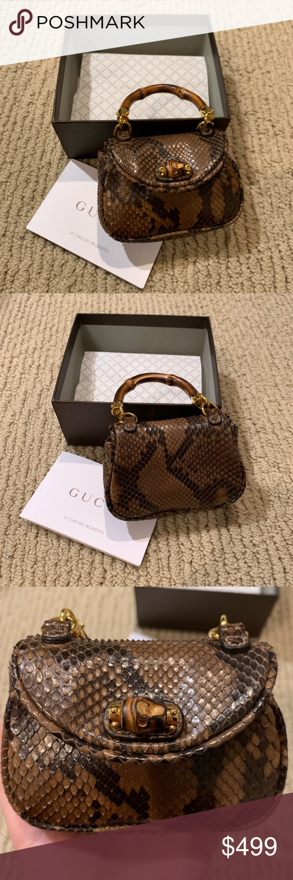 ccfc364961b NWT Authentic Gucci Mini Python Skin Purse A limited edition mini Bamboo  top purse from Gucci