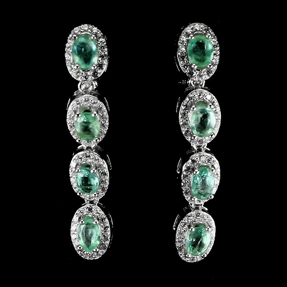 Unheated Oval Green Emerald Cz 14K White Gold Plate 925 Sterling Silver Earrings