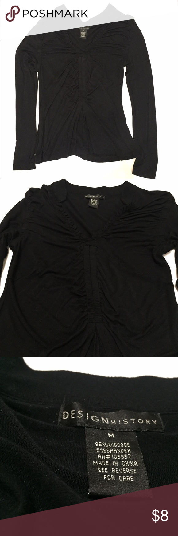 Black Long Sleeve Top V neck shirt with cute detailing. In good condition. Any questions please ask. Tops
