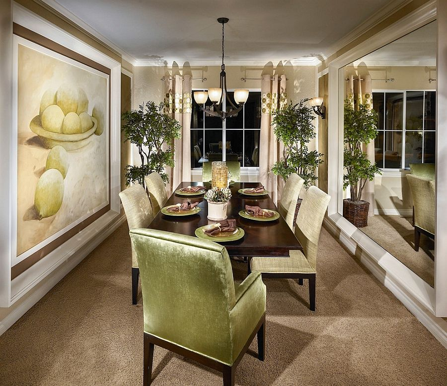 How To Use Green To Create A Fabulous Dining Room Traditional Dining Rooms Stylish Dining Room Mirror Dining Room