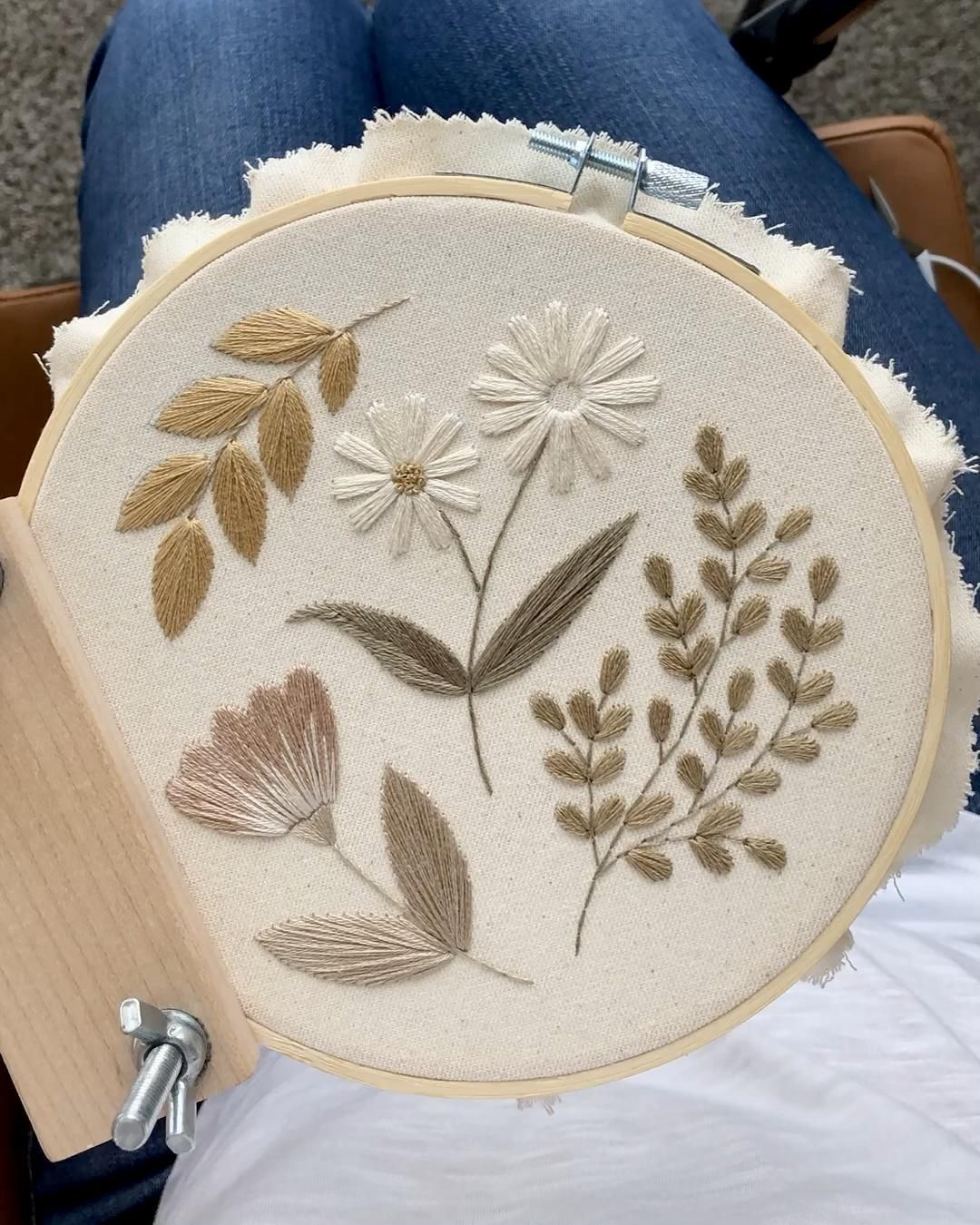 Botanical embroidery hoops