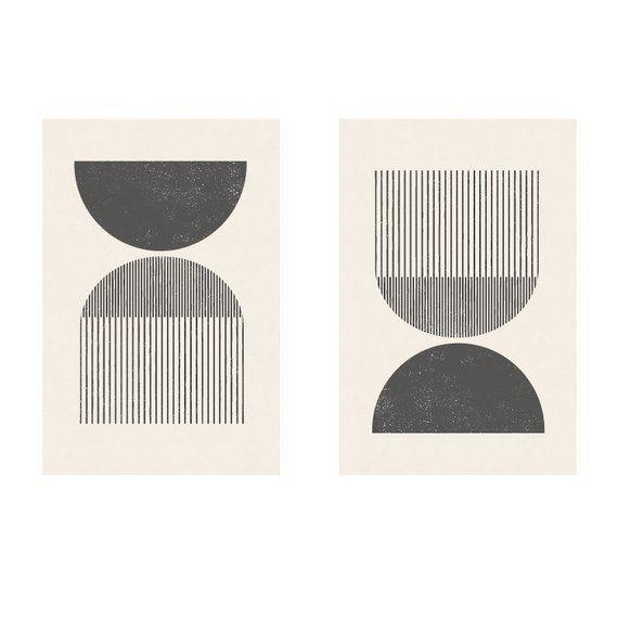 Mitte des Jahrhunderts Stil Holzschnitt in klassischen geometrischen Formen und neutralen Farben. Laden Sie sofort herunter und drucken Sie von zu Hause aus.