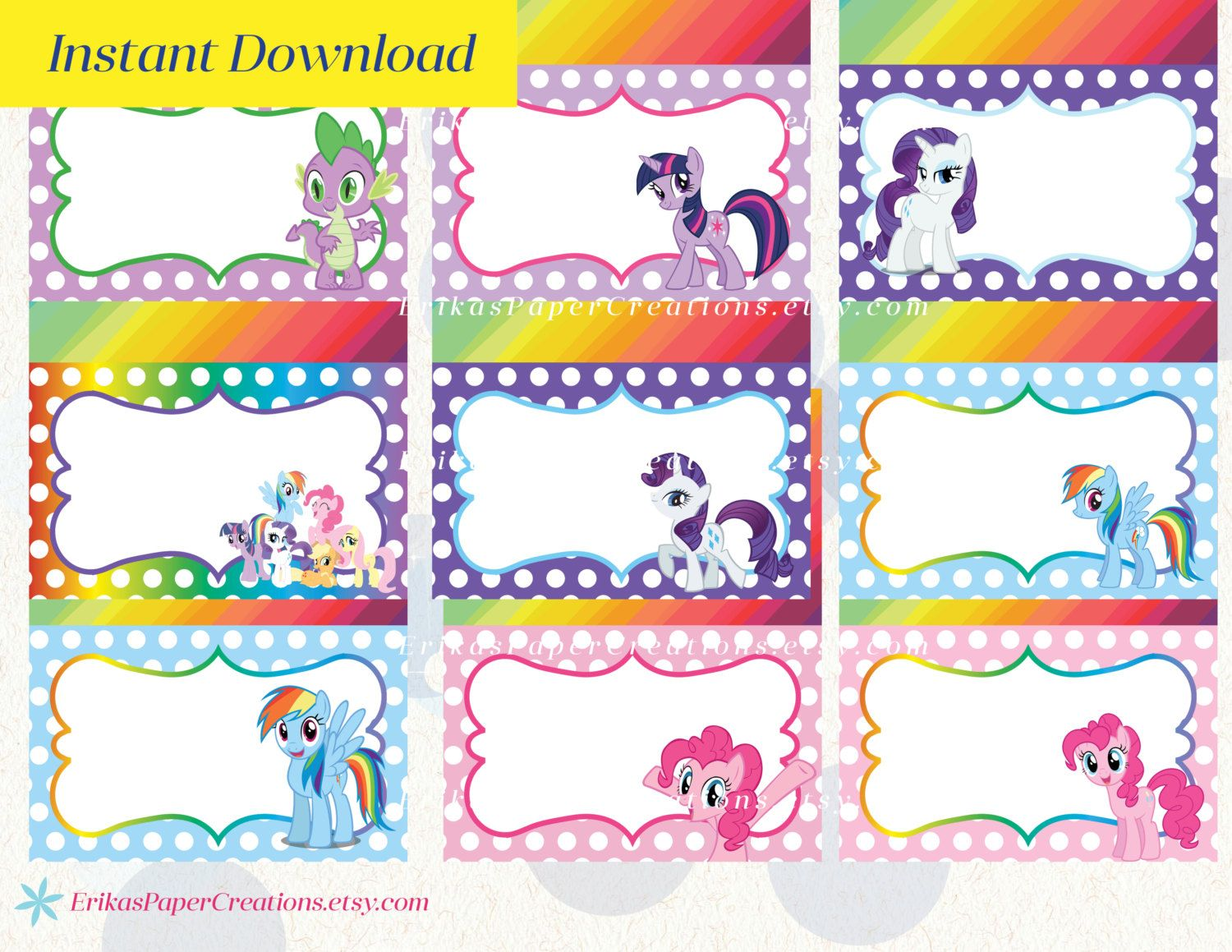 My Little Pony Printable Food Tent Editable Pdf Place Cards Instant Download My Little Pony Printable My Little Pony Birthday My Little Pony Food