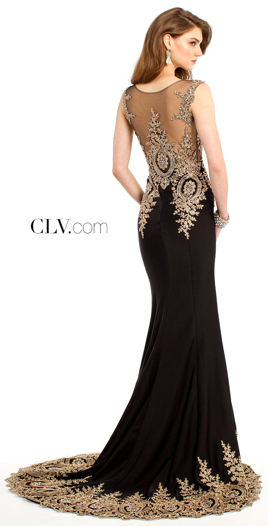 Black dress gold lace - Camille La Vie Evening Gowns And Party Dresses
