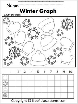 letter w Free Winter Graphing Worksheet. Fun for preschool Kindergarten and grade.