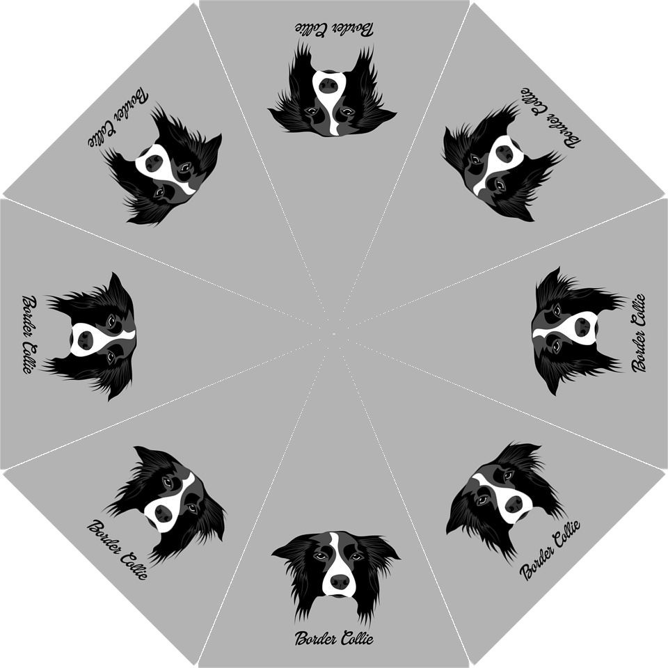 Black BORDER COLLIE Anime Dog Puppy Auto Foldable Polyester