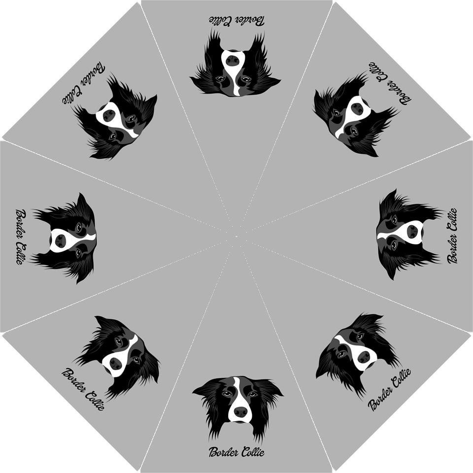 Black Border Collie Anime Dog Puppy Auto Foldable Polyester Umbrella Dog Names Border Collie Custom Dog