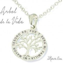 Cadena de familia con árbol de vida y nombre grabado Tree of Love oro 925 cadena de plata
