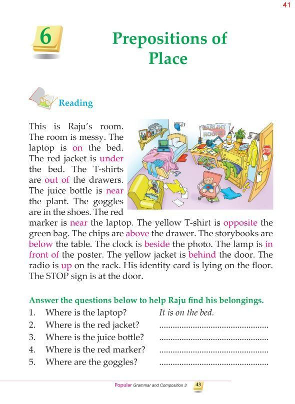 3rd Grade Grammar Prepositions Of Place Reading Comprehension For Kids Learn English Words Learn English 3rd grade preposition worksheets
