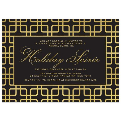 Corporate Holiday Party Invitations - Black  Gold Geometric - holiday party invitation