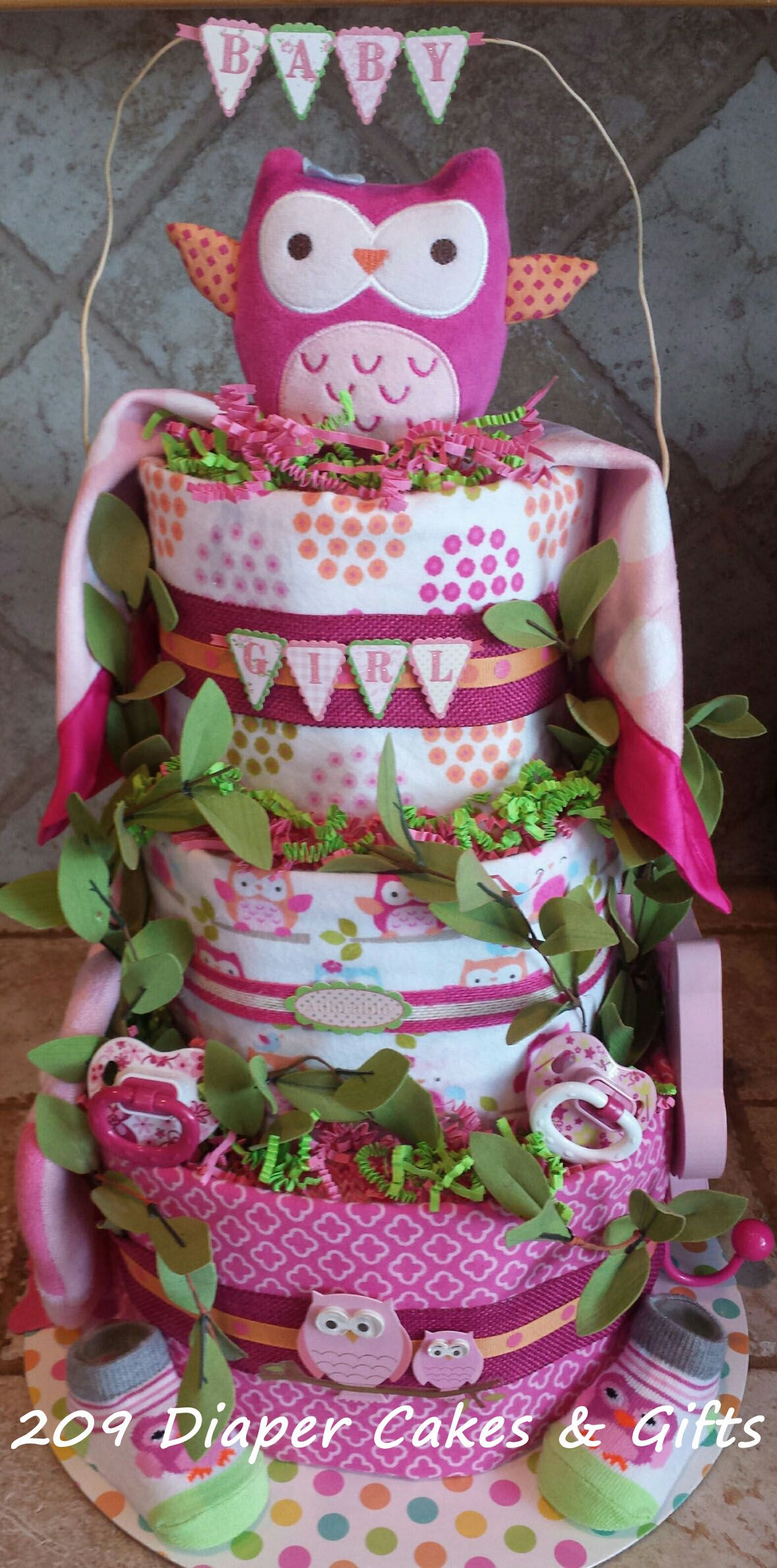 Pink Owl Diaper Cake by 209 Diaper Cakes & Gifts
