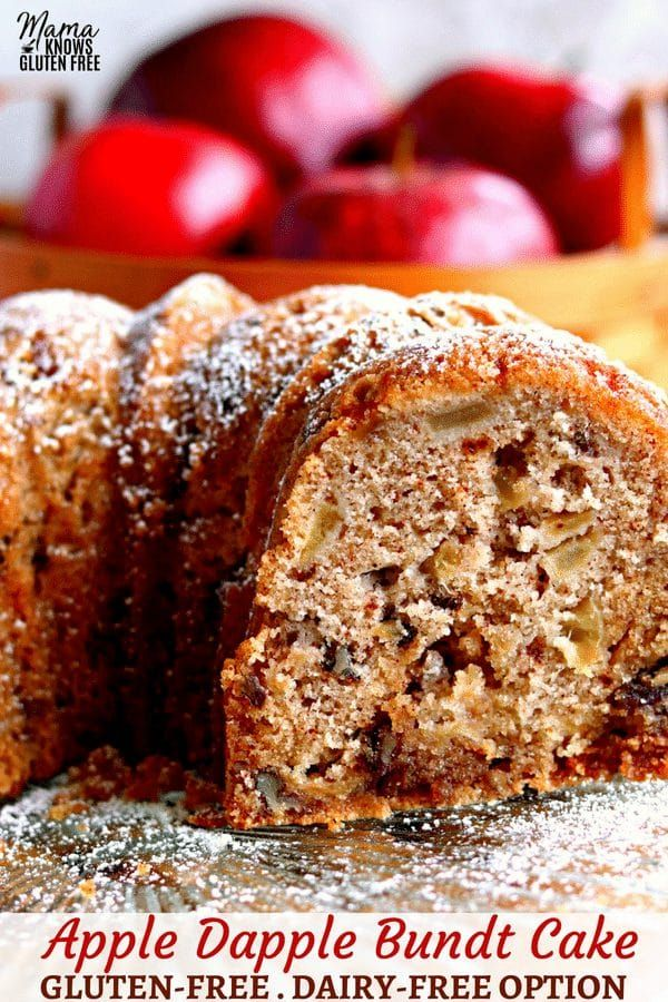 This gluten-free Apple Dapple Bundt Cake is a super moist cake that is loaded with fresh apples, crunchypecans and covered in a buttery brown sugar glaze. With a dairy-free option. Recipe from