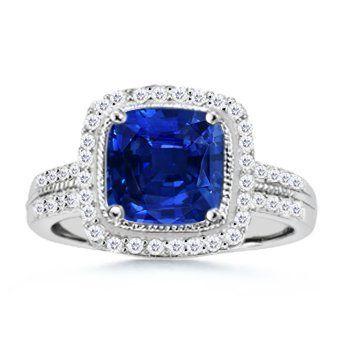 Cushion Sapphire and Round Diamond Border Ring -