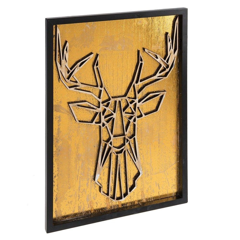 Framed Mettalic Deer Stag Antler Wall Sculpture Plaque Home Decor,12 ...