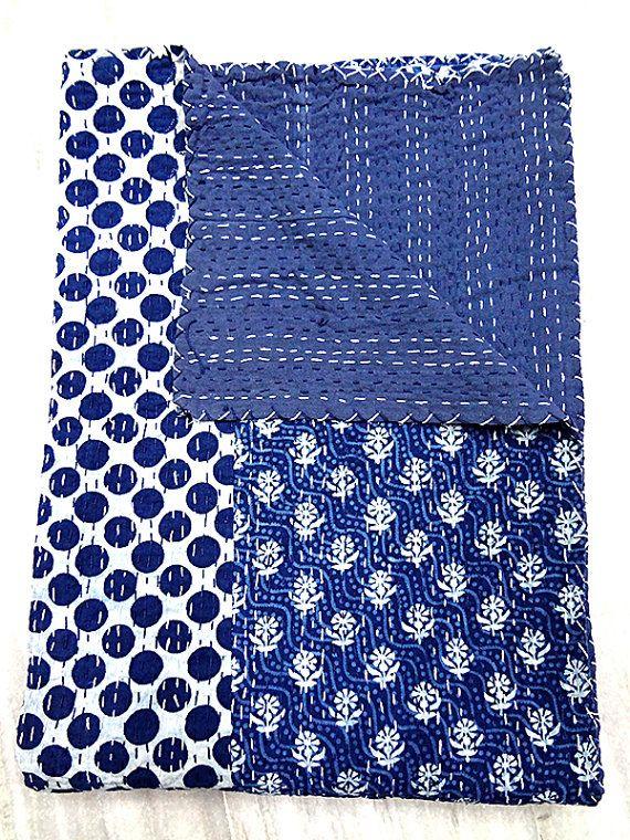 Spirited Vintage Kantha Quilt Indian Handmade Cotton Bedspread Sashiko Throw Bedding Decorative Quilts & Bedspreads