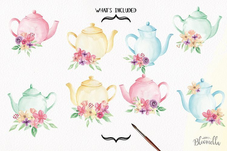 Watercolor Teapots Clipart Bouquets Flowers Wonderland Florals Tea