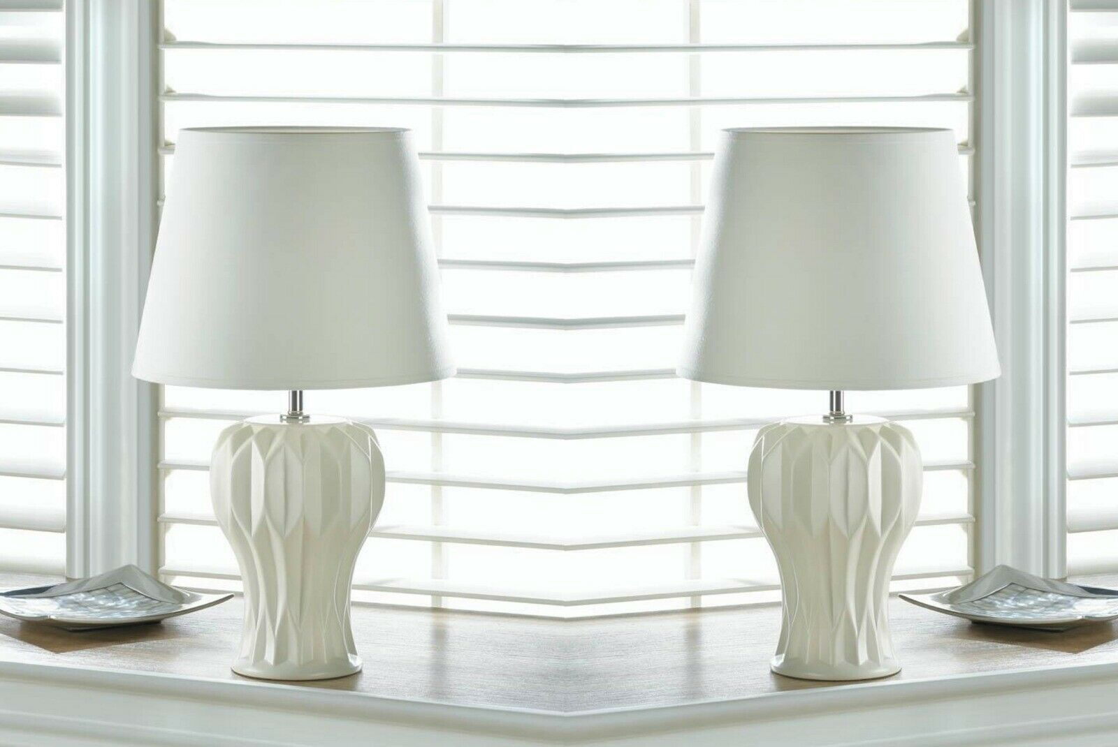 2 White Table Lamp Abstract Geometric Curved Ceramic Base W Fabric Shade 55 21 White Lamp Base White Lamp Shade Table Lamps For Sale White Ceramic Lamps