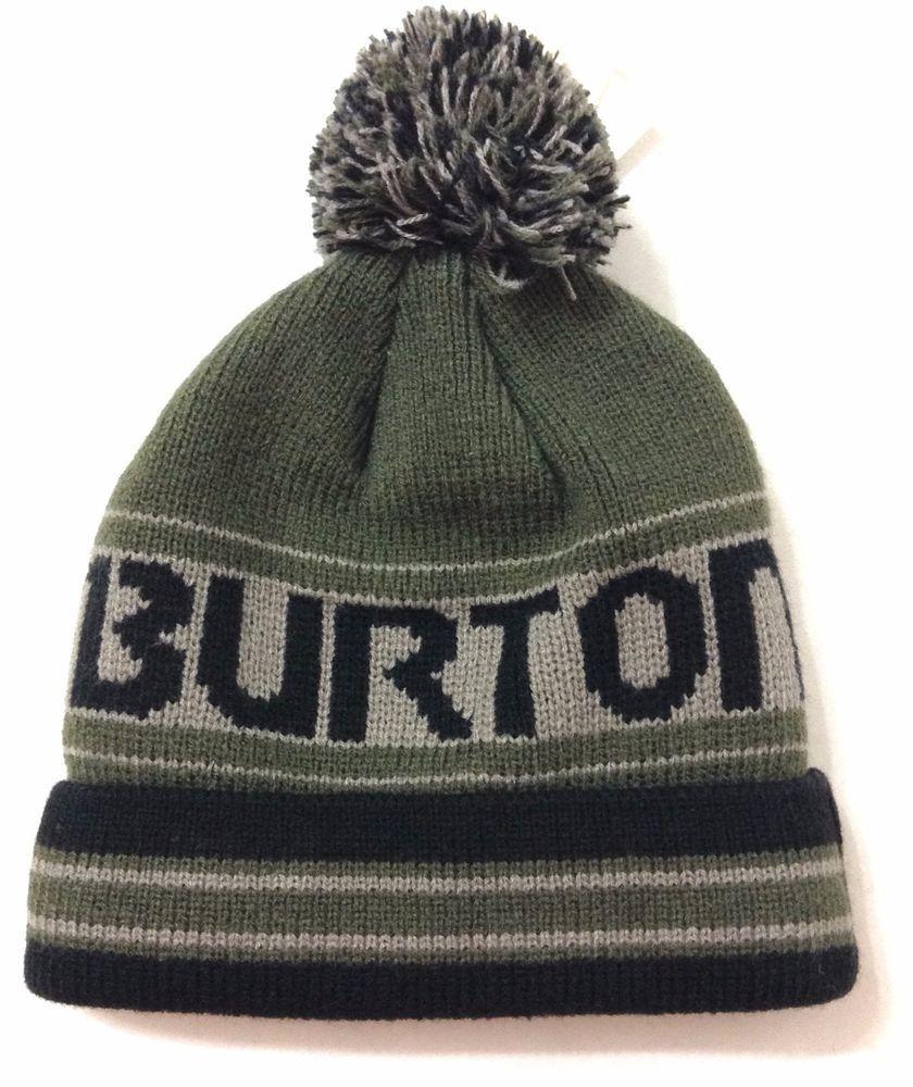 492b9f4389ad  23 osfm Toddler Boy Girl BURTON POM BEANIE Dark Green-ish-Gray Winter Knit  Hat  Burton