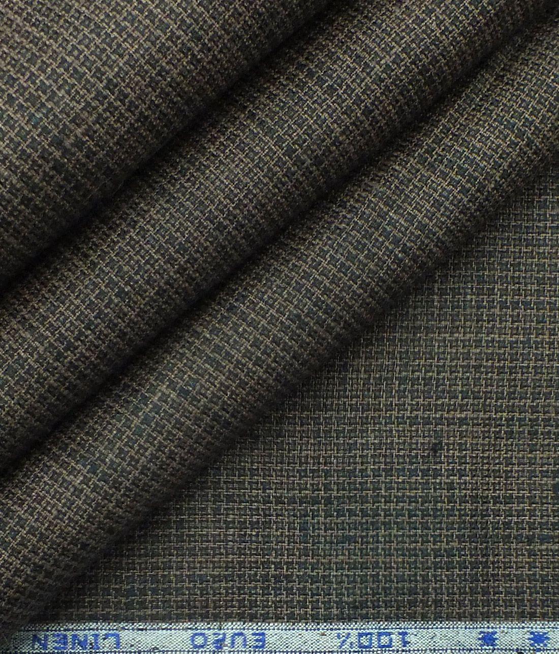 Solino Dark Brown 100 Euro Linen Houndstooth Weave Trouser Fabric 1 30 M Linen Houndstooth Fabric