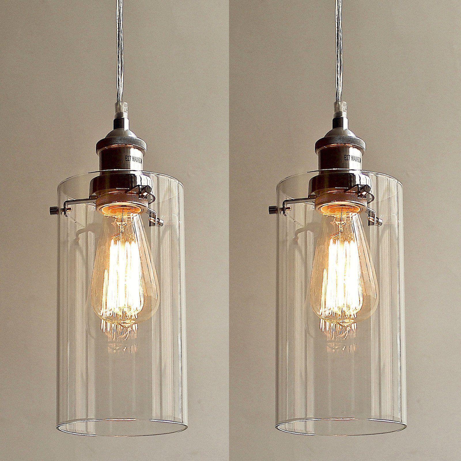 2pc allira pendant lights clear glass chrome fittings