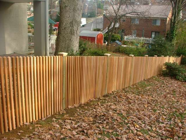 6 Tall Horizontal 1x6 Cedar With Wood Posts Trimmed Out One Side Rough Cedar Cap Small Spacing On 1x6 Wood Fence Good Neighbor Fence Cedar Fence
