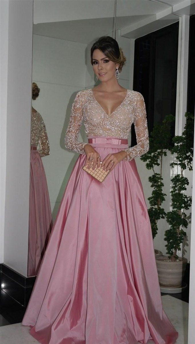 Alineprincess fulllong sleeves vneck beading long taffeta formal
