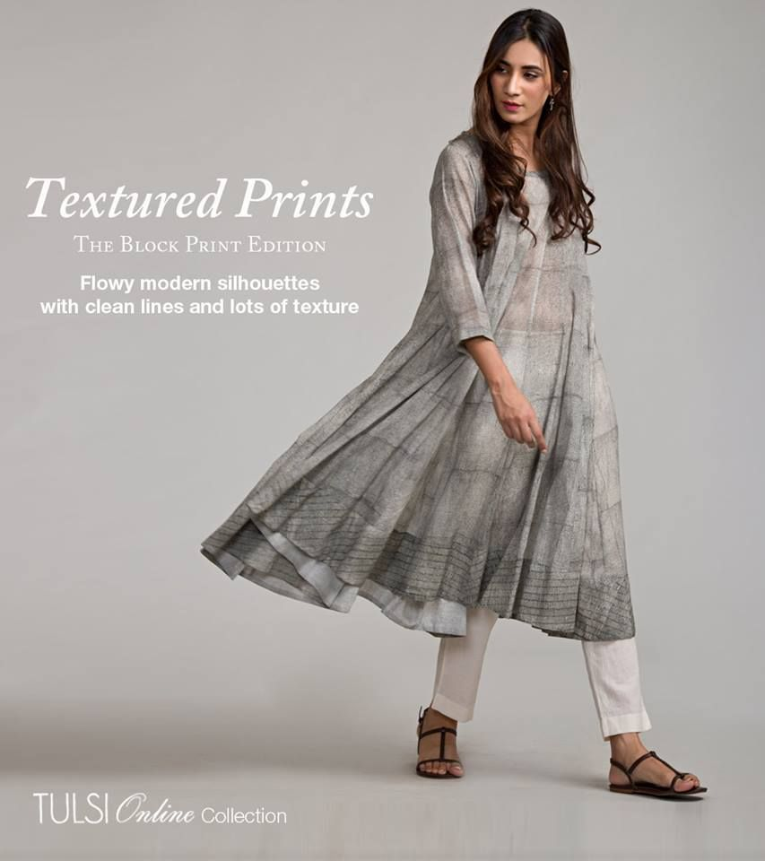 Beautifully Textured Hand Block Printed Garments, now available online @ www.tulsionline.in