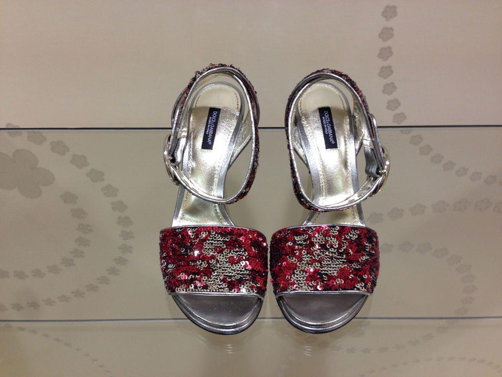 Auth Dolce & Gabbana silver & red sequins sandals pumps sz 38 heels shoes
